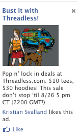 ThreadLess ad with Velma and Scooby